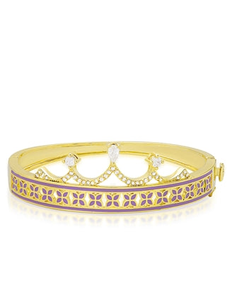 LN712-2T, Princess Crown Bangle Bracelet Purple Leaf