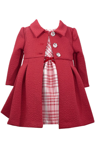 X32188 Plaid Dress/Textured Coat