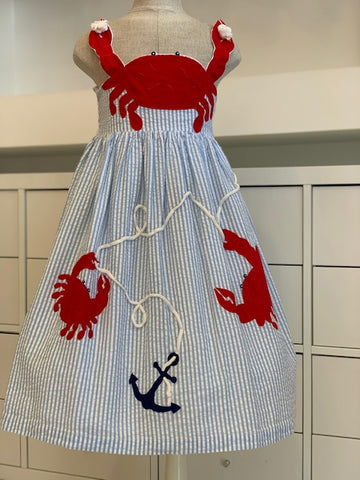 Red Crab Applique Dress