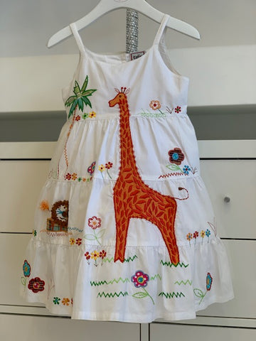 Orange Embroidered Giraffe Dress