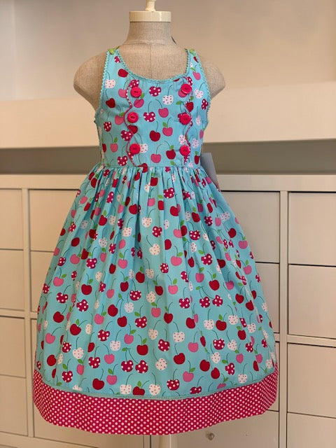 CK3380, Blue and pink Cherry Dress