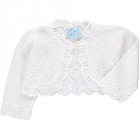 WHITE SCALLOPED EDGE BOLERO