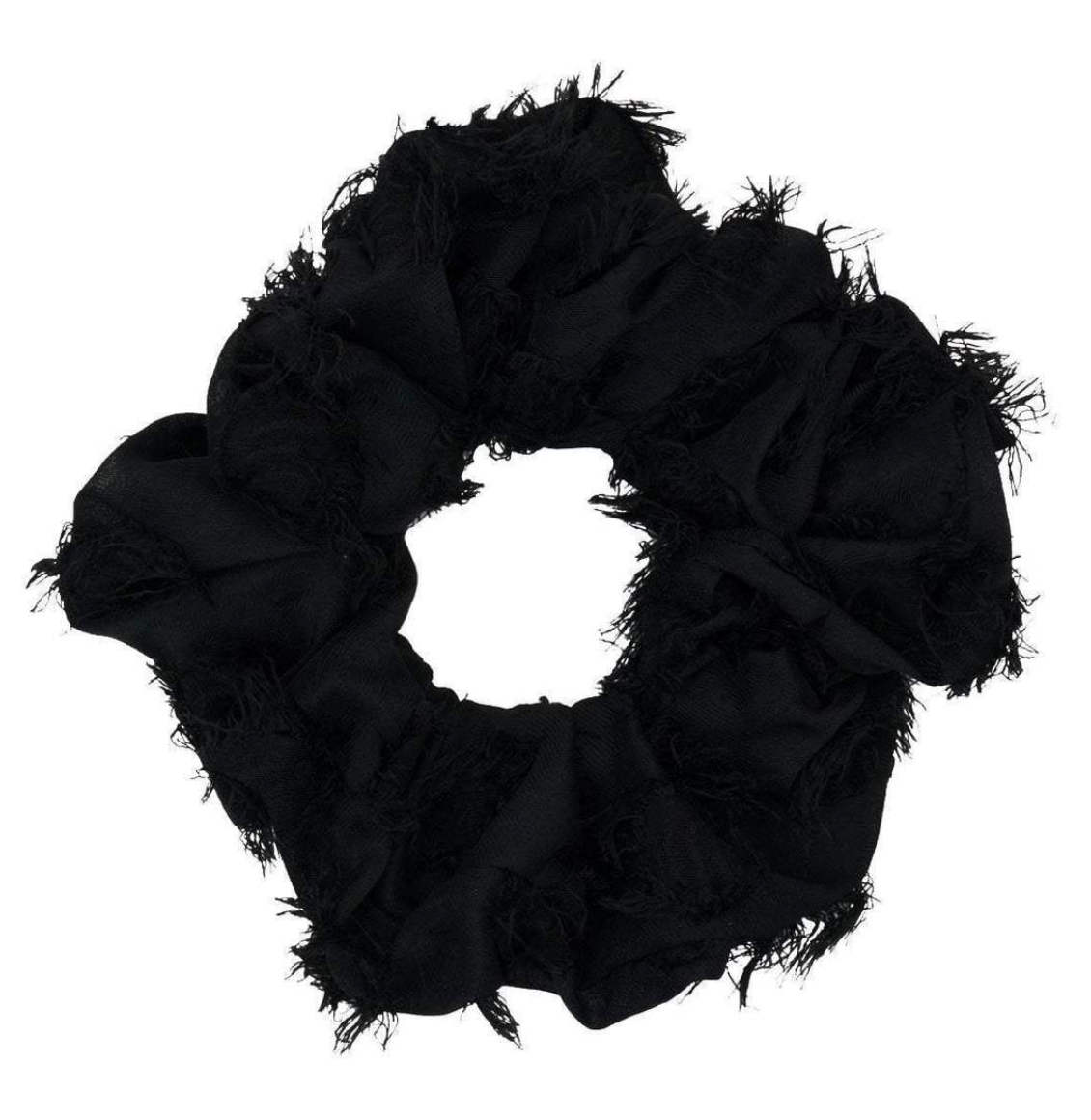 Frayed Oversized Scrunchie in Black
