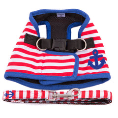 Nautical Red Striped Harness With Matching Leash
