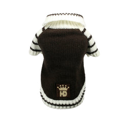 brown hd crown cardigan sweater dog sweater Dog Coats Dog Jackets Dog Tops designer dog apparel dog outerwear