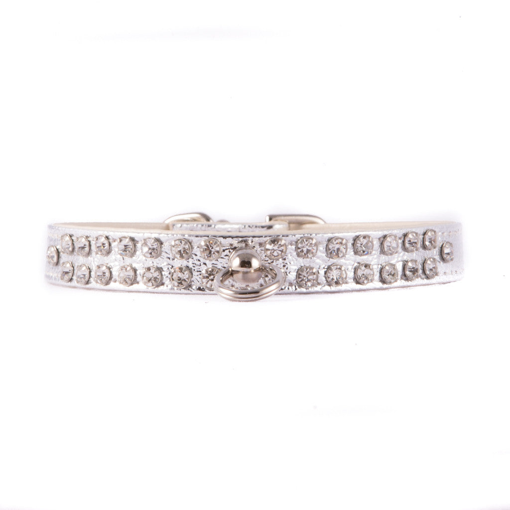 Silver Two Row Jeweled Collar