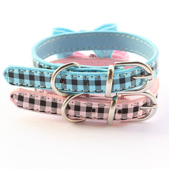 Blue Sequin Checkered Bow Tie Dog Collar
