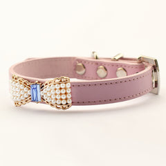 Pink Pearl Bow Collar