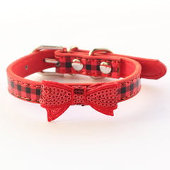 Red Sequin Checkered Bow Tie Collar