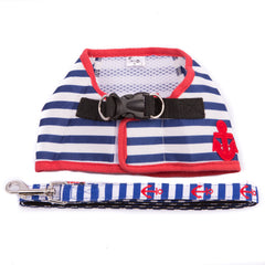 Nautical Blue Striped Harness With Matching Leash