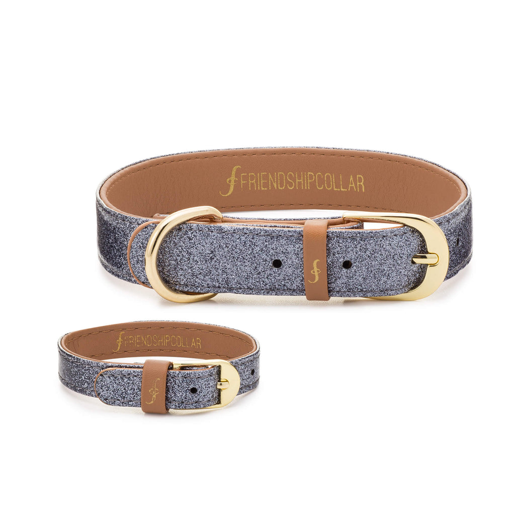 The Sparkling Puppy : Glitter Silver Friendship Collar - USE FC15 FOR 15% OFF