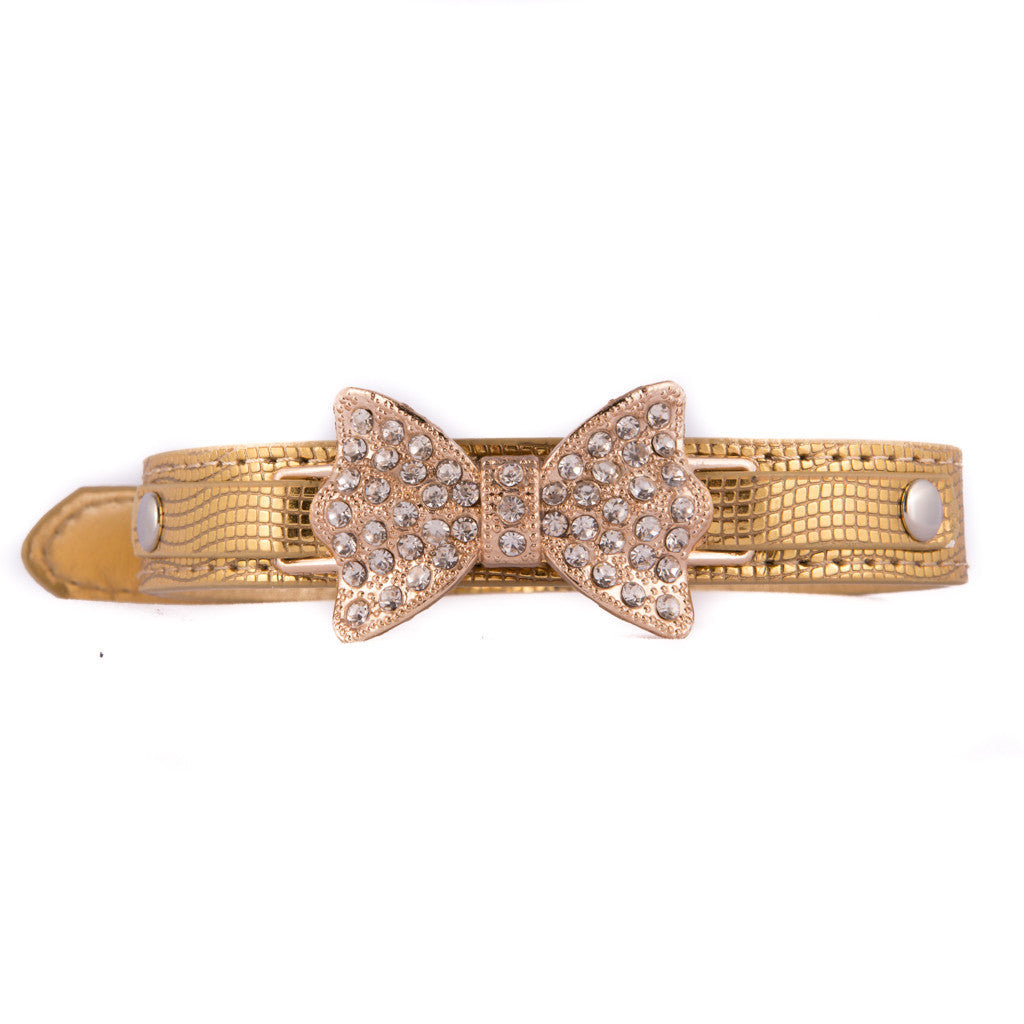 Gold Rhinestone Bow Tie Collar