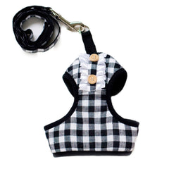 Black Plaid Dog Harness with Leash