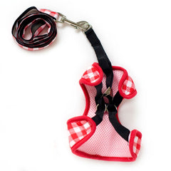 Red Plaid Harness with Leash
