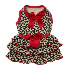 Red Leopard Ruffle Dress