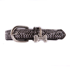 Snake Skin Collar with Charm - Black