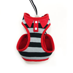 Black Polo Striped Dog Harness with Leash