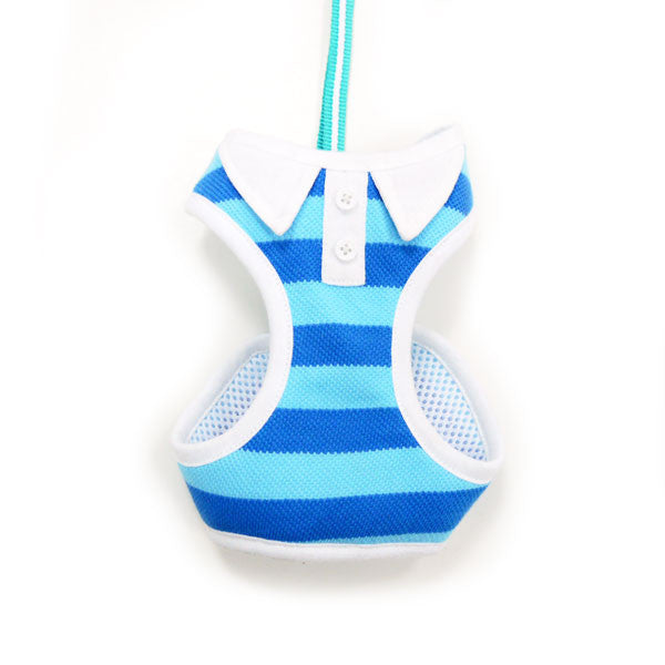 Blue Polo Striped Dog Harness with Leash