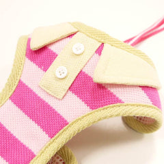 Pink Polo Striped Harness with Leash