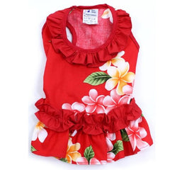 Hawaiian Ruffle Dress Red
