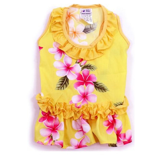 Hawaiian Ruffle Dress Yellow