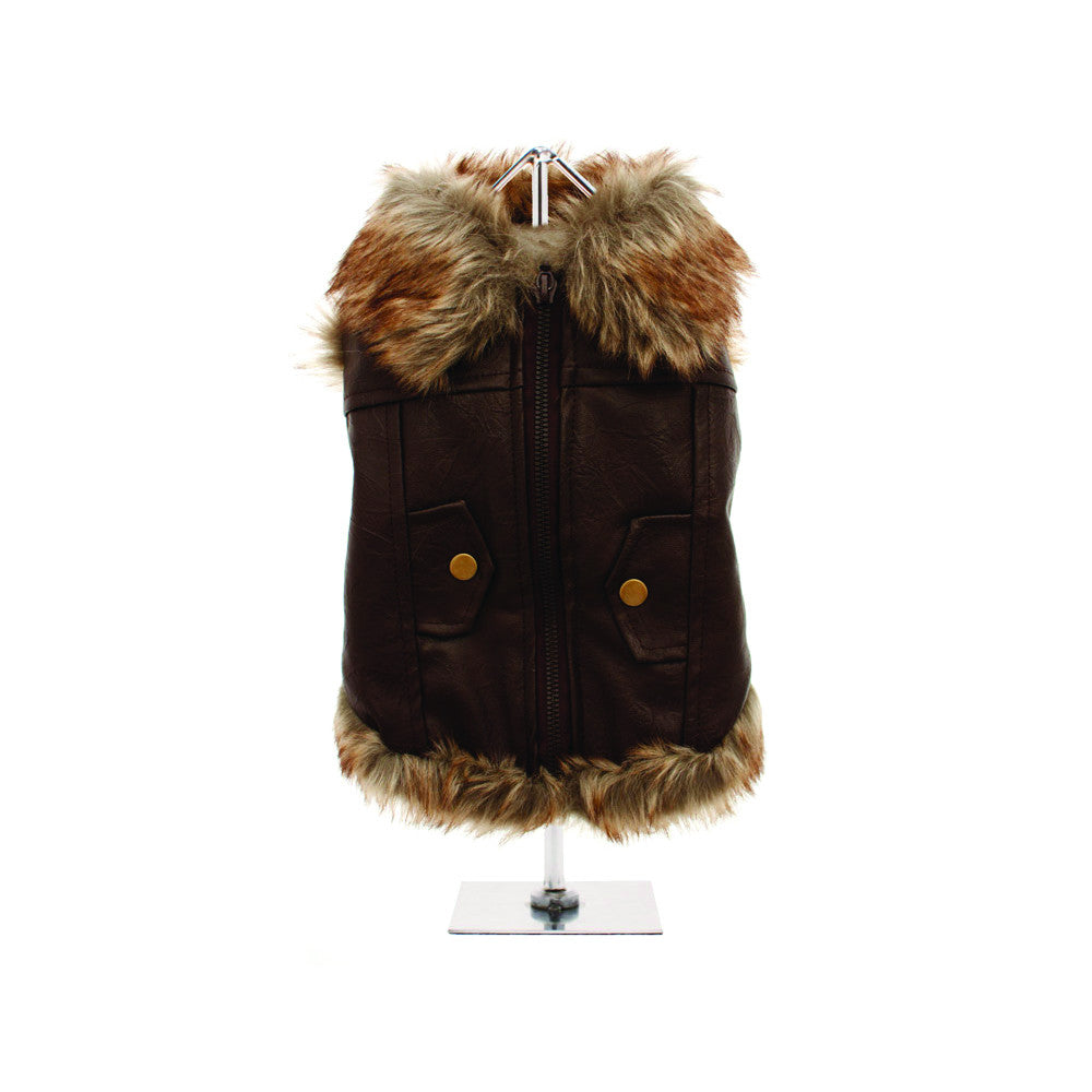 leather fur trimmed flying jacket Dog Coats Dog Jackets Dog Tops designer dog apparel dog outerwear