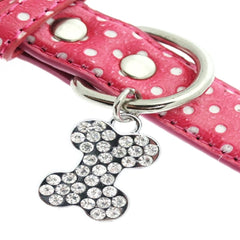 hot pink polka dot and diamante heart charm collar dog collar fancy dog collar dog shirt collar designer dog collar boutique dog collar