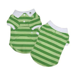 green striped polo top dog tee dog shirt designer dog clothes