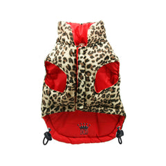 red and leopard reversible puffer vest Dog Coats Dog Jackets Dog Tops designer dog apparel dog outerwear