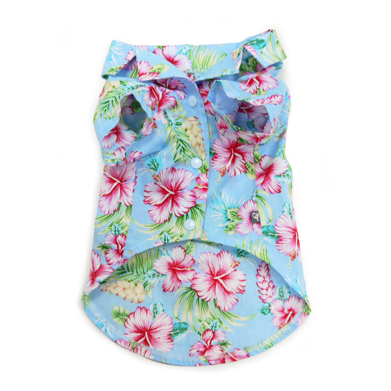 dog tropical shirt blue