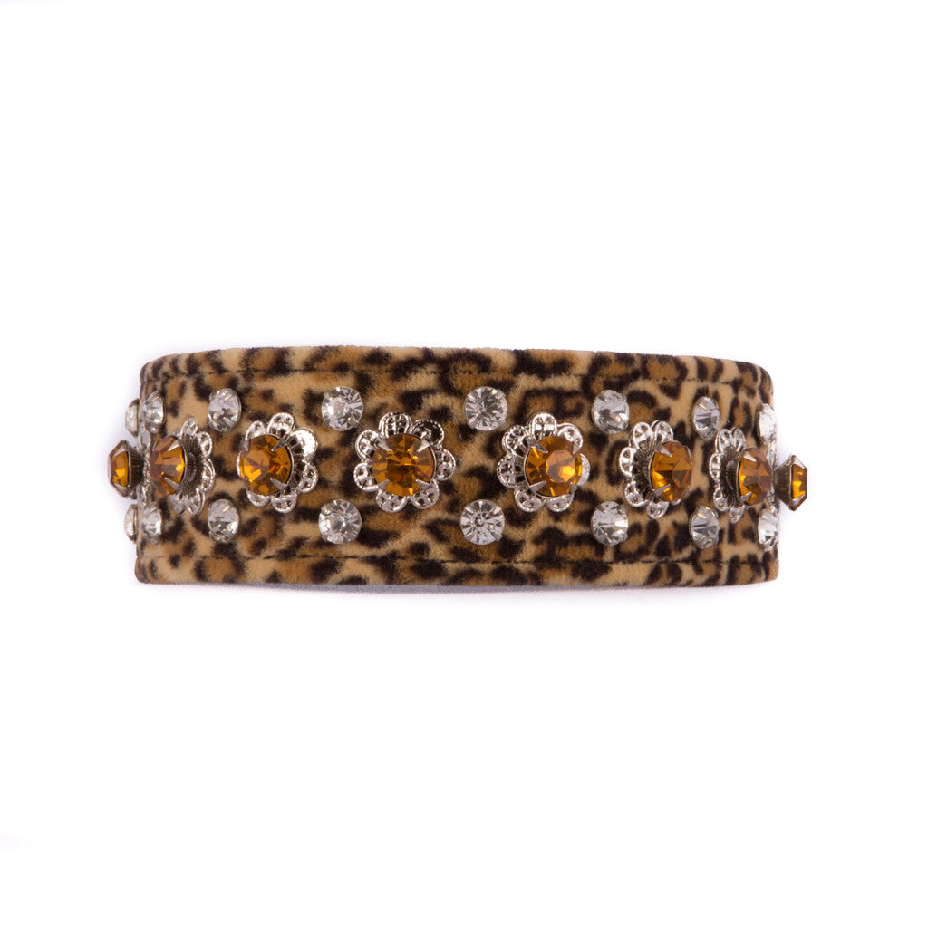 Leopard Print and Floral Design Crystal Collar