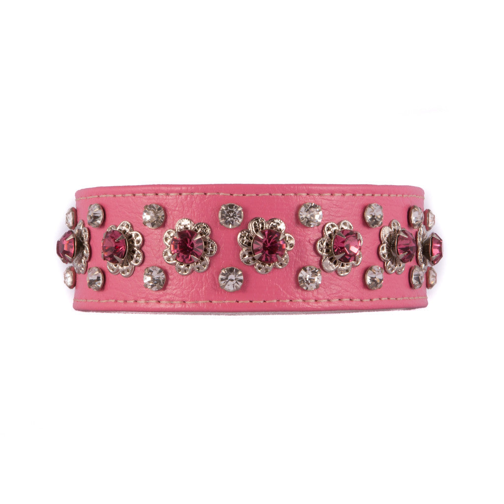 Floral Pink and Clear Crystal Collar