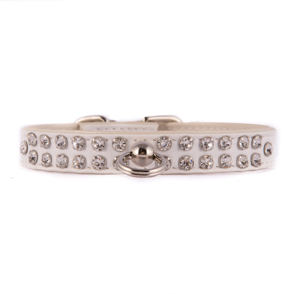 White Two Row Jeweled Collar