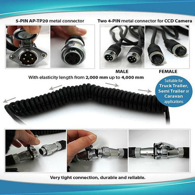 MDVR HEAVY DUTY TRAILER CONNECTORS! Install 1, 2 or up to 4 Cams on Trailer or RV!