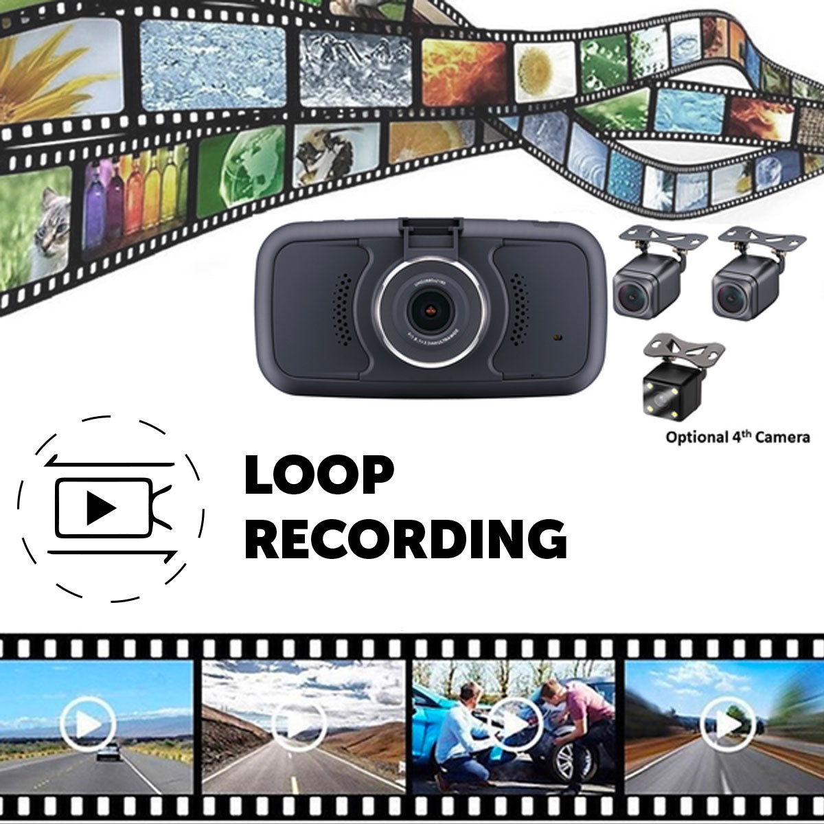 Record 3 Viewpoints! 3 Camera Dashcam System One Power Source