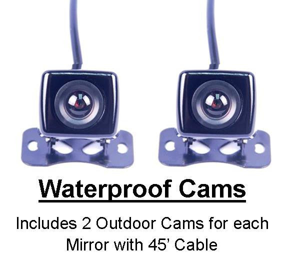 3 Camera Trucker Dash Cam - 1 Windshield Mounted Cam & 2 Waterproof Cams for each Mirror! One Power Source! - FalconEye Trucker Dash Cams  - 4