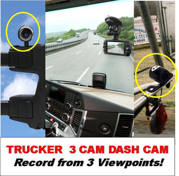 3 Camera Trucker Dash Cam - 1 Windshield Mounted Cam & 2 Waterproof Cams for each Mirror! One Power Source! - FalconEye Trucker Dash Cams  - 2