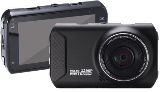 "TD PRIME 1296P Single Dash Cam: Wide Angle WDR Front Facing Dash Cam w/ 3.0"" LCD"