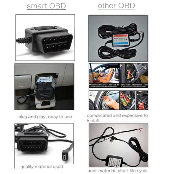 OBDII 12 Volt Power Cable for Dash Cams! Replaces Cig Lighter Charger!