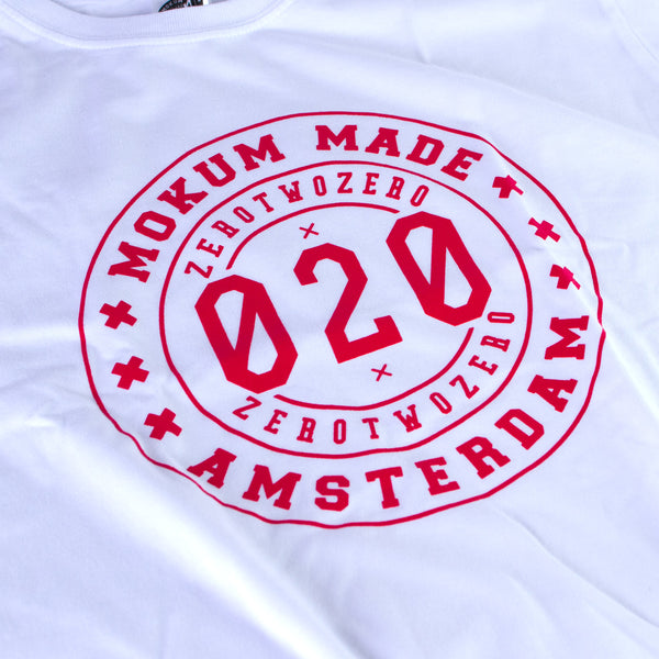 Mokum Made crew shirt - White/Red