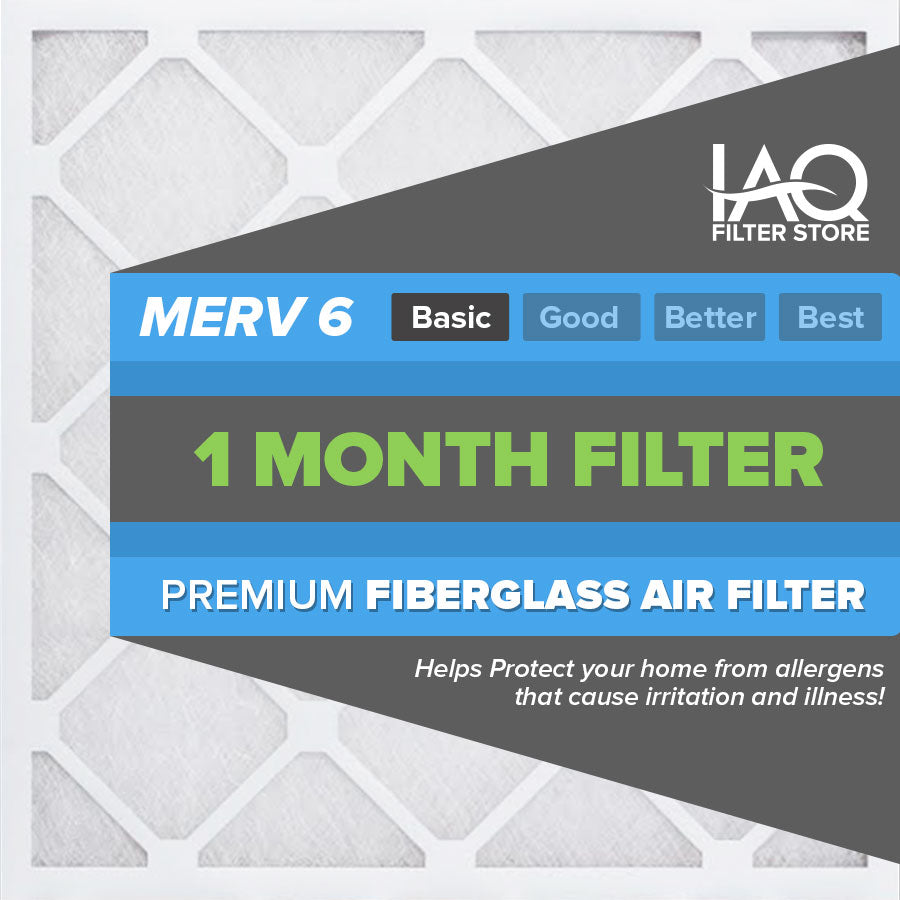 20x25x1 MERV 6 - 6 PK - Premium Furnace & AC Air Filters