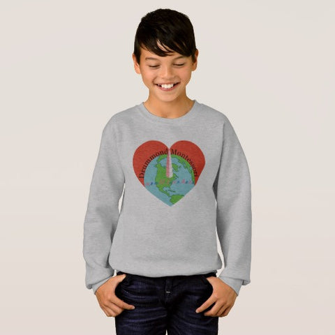 Drummond Montessori we all live here Big Logo Sweatshirt (KIDS)
