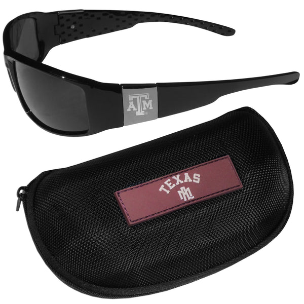 Texas A & M Aggies Chrome Wrap Sunglasses and Zippered Carrying Case