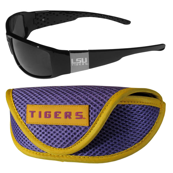 LSU Tigers Chrome Wrap Sunglasses and Sports Case