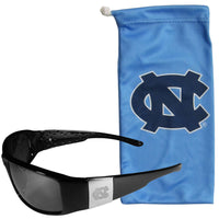 N. Carolina Tar Heels Etched Chrome Wrap Sunglasses and Bag