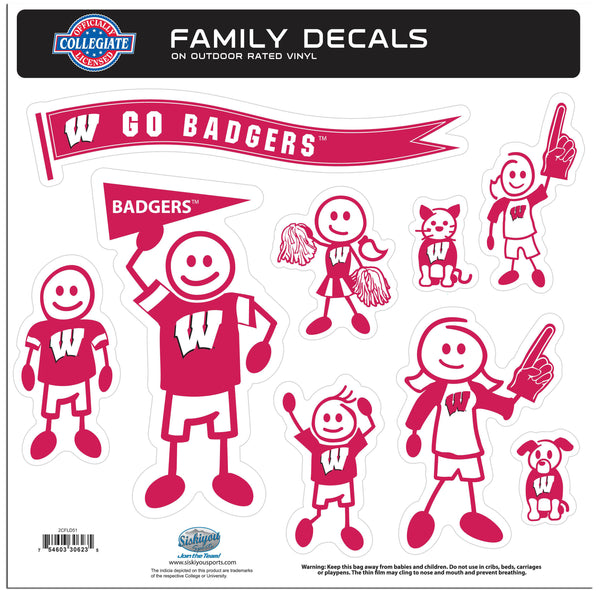 Wisconsin Badgers Family Decal Set Large