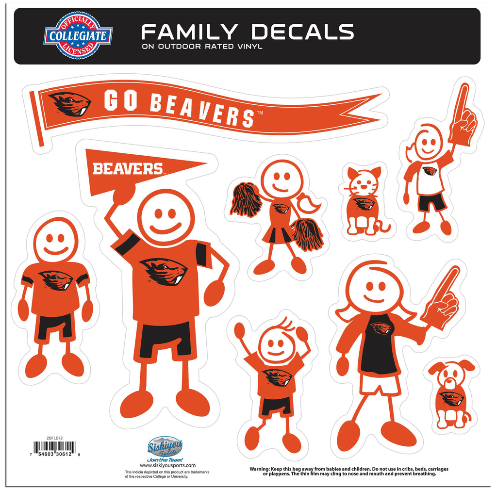 Oregon St. Beavers Family Decal Set Large
