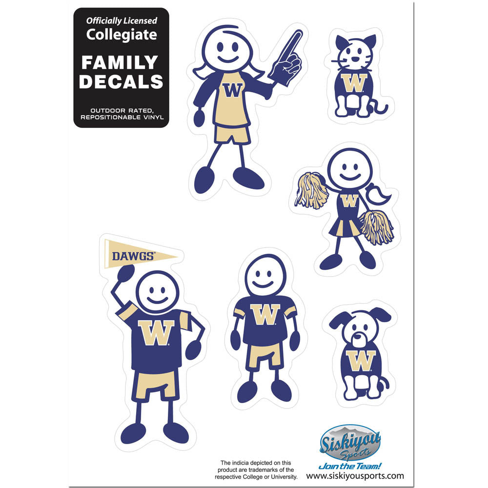 Washington Huskies Family Decal Set Small