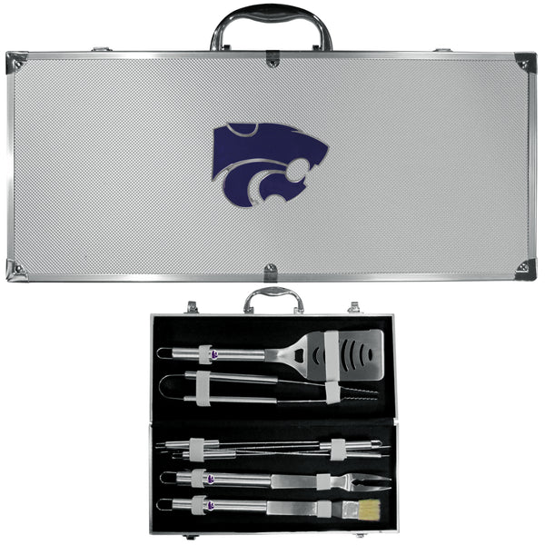 Kansas St. Wildcats 8 pc Stainless Steel BBQ Set w/Metal Case