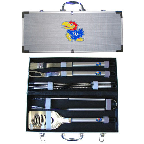 Kansas Jayhawks 8 pc Stainless Steel BBQ Set w/Metal Case
